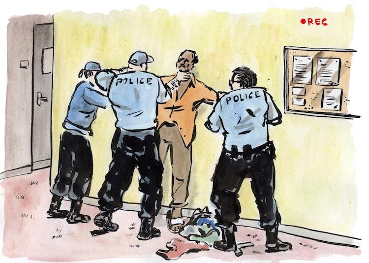 « Un policier m'a étranglé au niveau de la porte d'entrée, près de la machine à café » / Crédits : Tommy Dessine