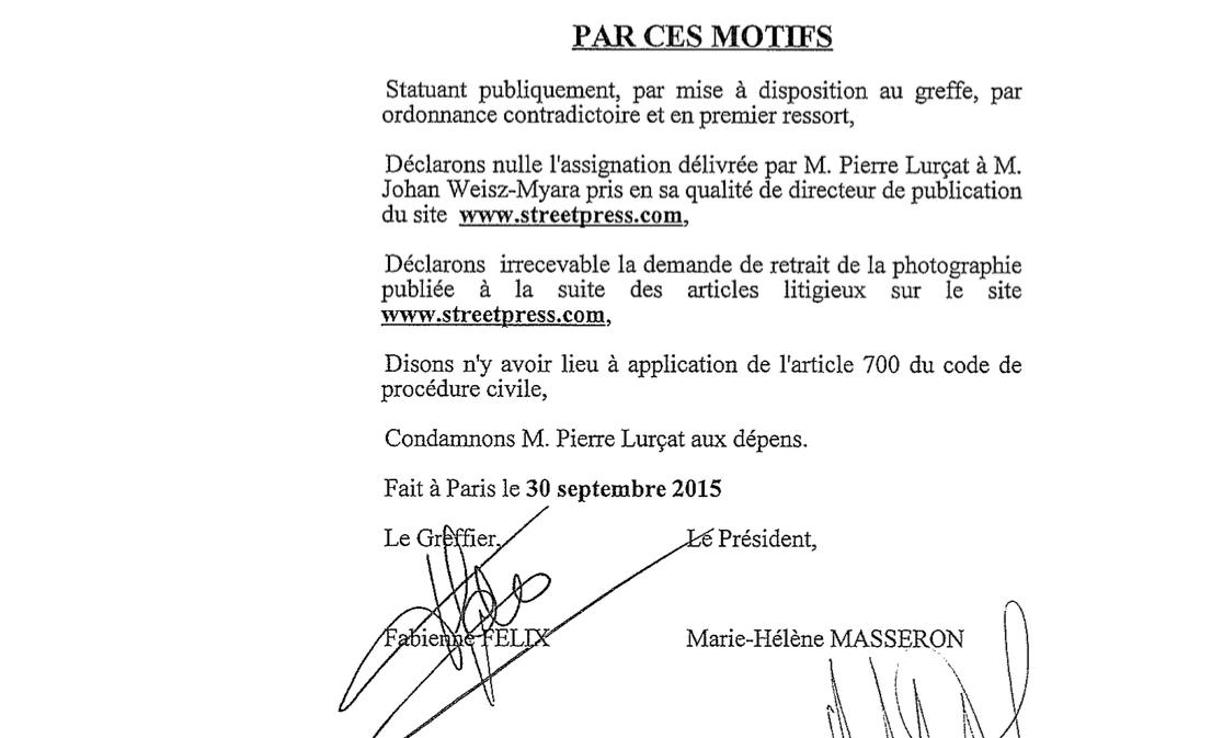 Extrait jugement TGI Paris Lurcat StreetPress