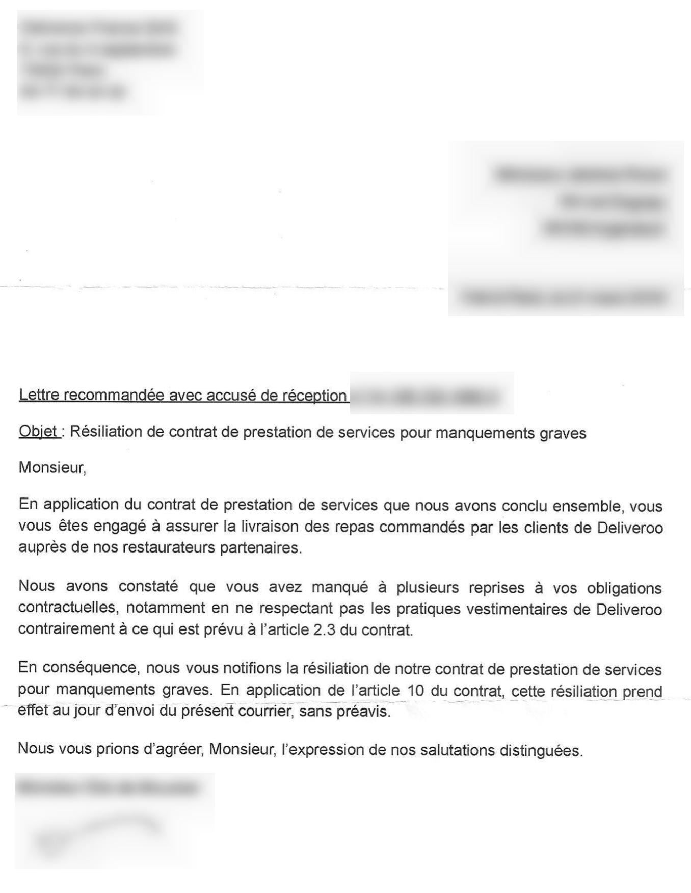 Lettre recommandée de Jérôme Pimot