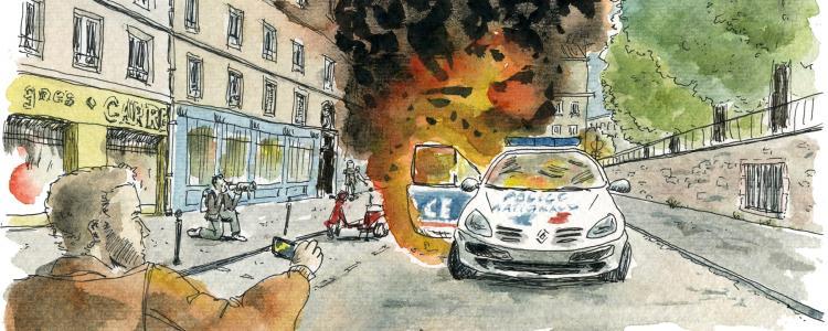 Jusqu'à 7 ans de prison pour les incendiaires de la voiture de police du Quai de Valmy
