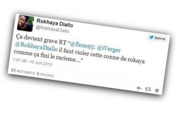 Samir, travailleur handicapé, appelle au viol de Rokhaya Diallo sur Twitter